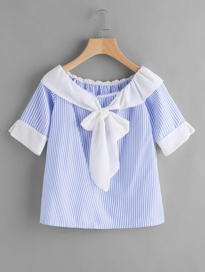 Contrast Bertha Collar Bow Tie Striped Top