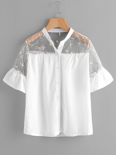 Модная блуза с вышивкой и сетчатой вставкой