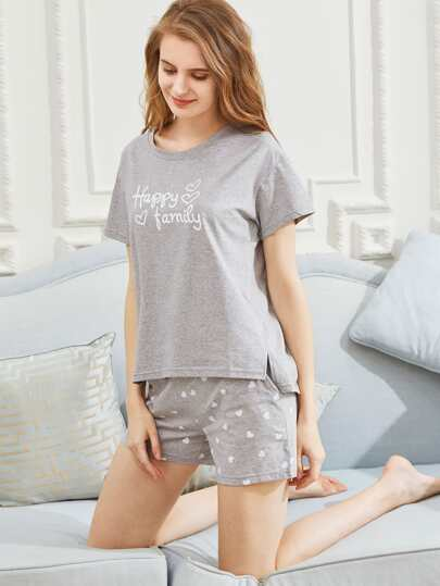 Letter Print Tee With Shorts Pajama Set