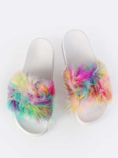 Multi Colored Fur Slides MULTI