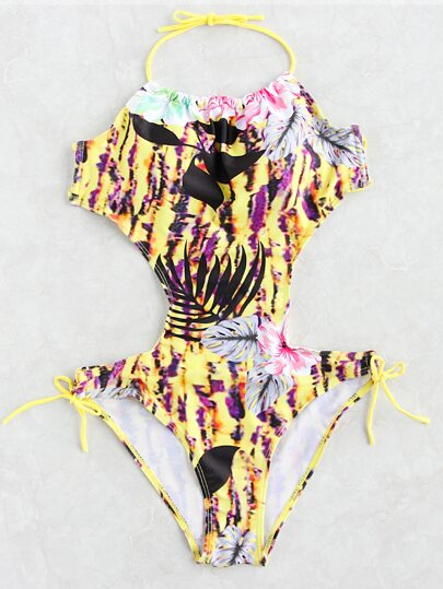 Flower Print Side Tie Halter Monokini