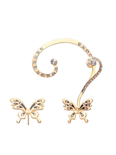 Rhinestone Embellished Butterfly Mismatch Ear Cuffs