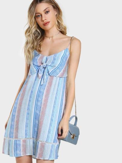 Front Knot Striped Flowy Dress BLUE