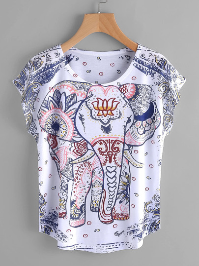 T-Shirt mit Dolmanärmeln und Elefantmuster