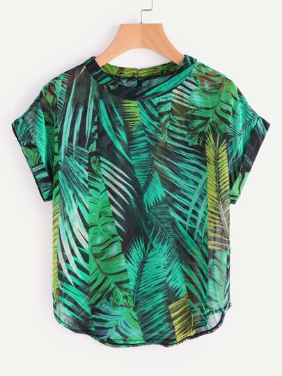 Palm Leaf Print Buttoned Keyhole Back Chiffon Blouse