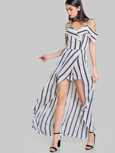 Cold Shoulder Striped Overlay Romper WHITE