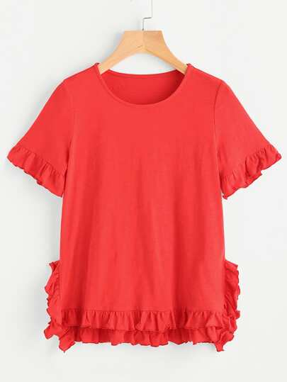Frilled Staggered Hem T-shirt
