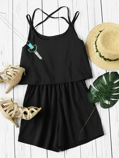 Criss Cross Back Layered Cami Romper