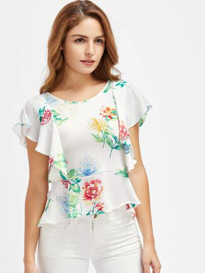 V Back Florals Frill Trim Peplum Top