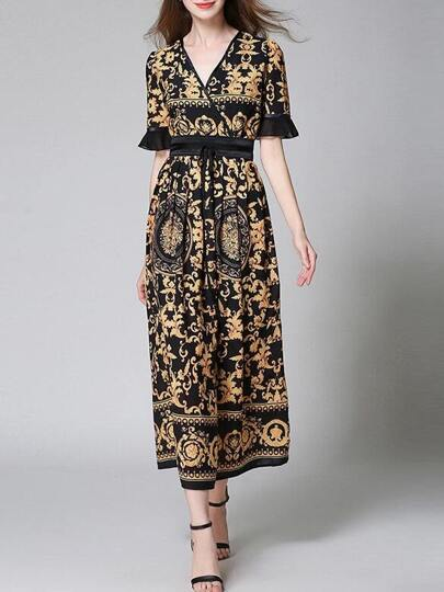 V Neck Bell Sleeve Vintage Print Dress