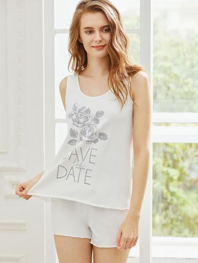 Rose Print Tank Top With Shorts Pajama Set
