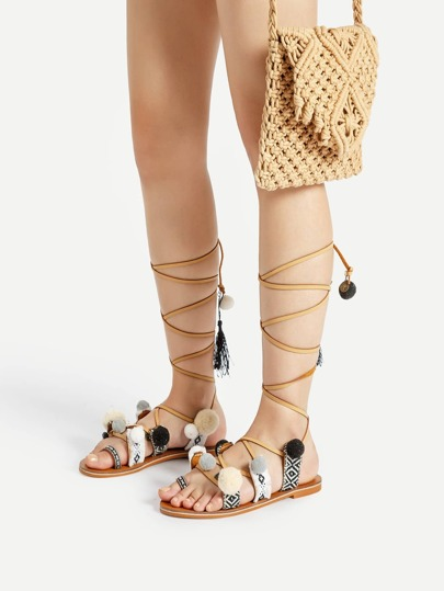 Pom Pom Embellished Lace Up Gladiator Flat Sandals
