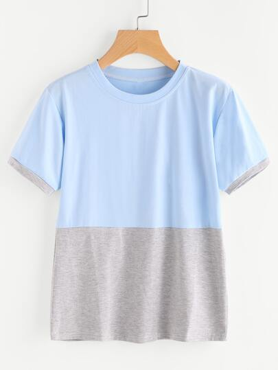 Contrast Cut And Sew T-shirt