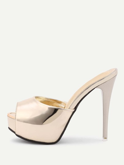 PU Metallic Platform Heeled Sandals