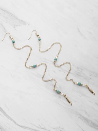 Boucles d'oreilles étail des feuilles en chaîne avec pierre gemme