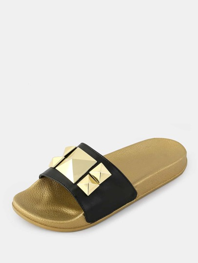 Studded Metallic Slides BLACK