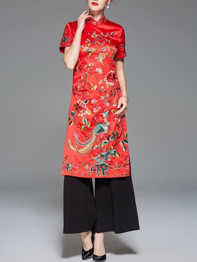 Collar Flowers Embroidered Split Dress