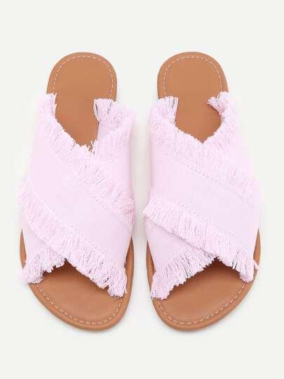 Sandales en denim bande croisée