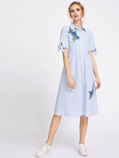 Flower Patch Tie Sleeve Partial Placket Gingham Dress