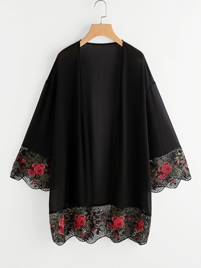 Kimono crochet con estampado floral