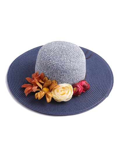Flower Embellished Straw Beach Hat