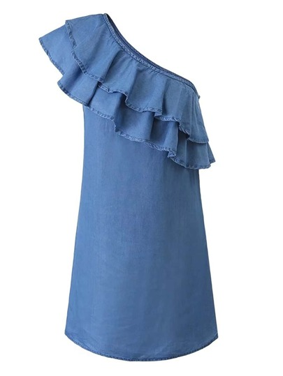 Oblique Shoulder Layered Ruffle Denim Dress