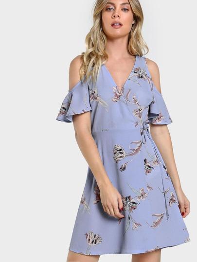 Cold Shoulder Floral Print Wrap Dress PERWINKLE