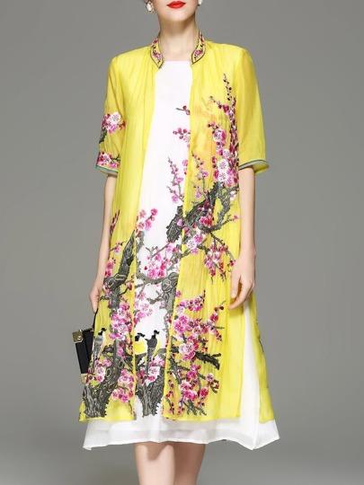 Flowers Embroidered Split Dress