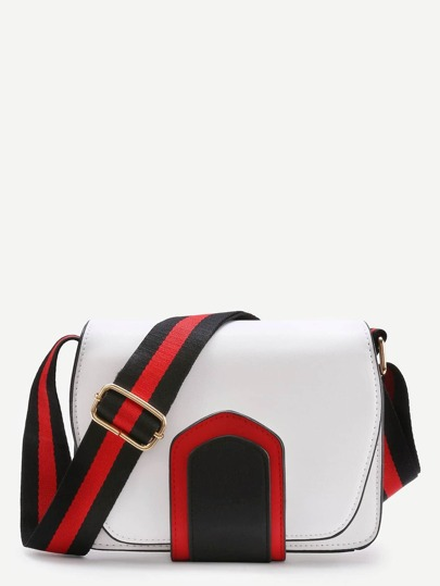 PU Flap Bag With Striped Strap
