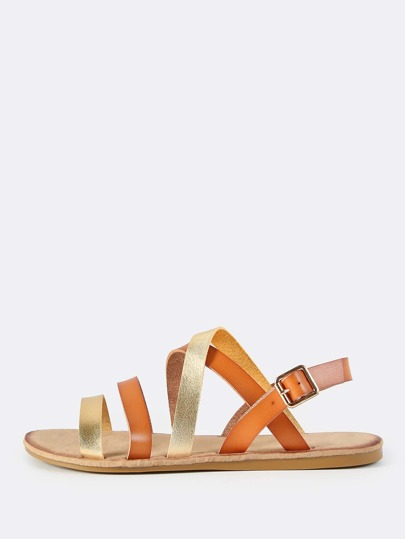 Two Tone Leather Sandals TAN