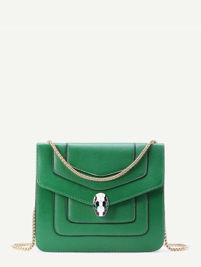 Snake Head Detail Crossbody Bag With Chain