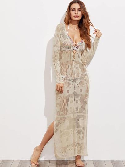 Maxi Decke Kleid mit Kreuz, V-Ausschnitt und Spalten Seite