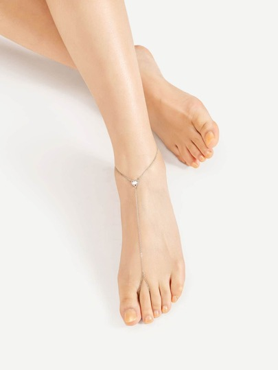 Metal Heart Detail Anklet With Toe Ring