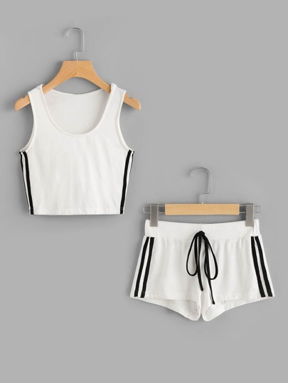 Side Striped Hooded Tank And Shorts Activewear Set