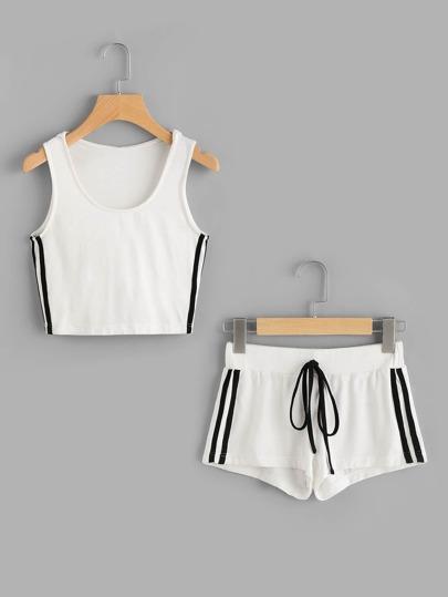 Top corto de capucha de rayas laterales con shorts - blanco