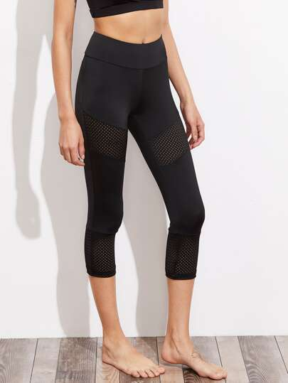 Perforated Panel Detail Crop Leggings