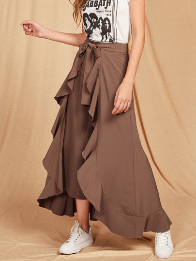 Ruffle Trim Tie Front Wrap Pants
