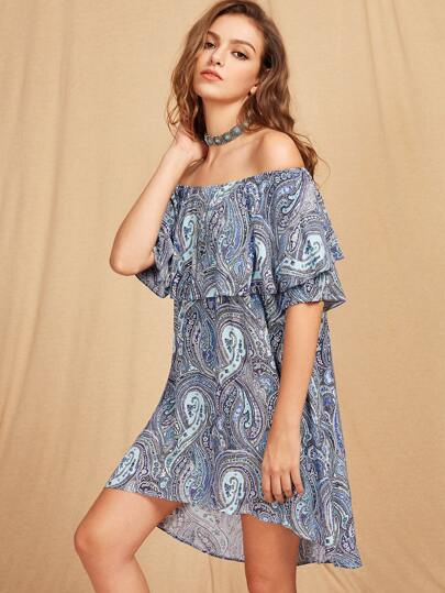 Flounce Layered Neckline Tribal Print Dip Hem Dress