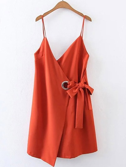 Bow Tie Waist Cami Dress With Ring Detail