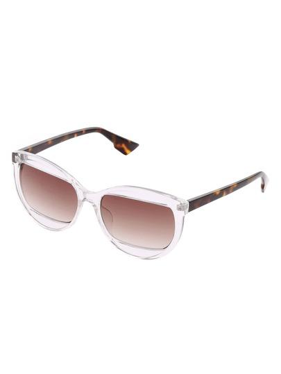 Clear Frame Oblong Lens Sunglasses