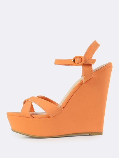 Cross Band Ankle Strap Wedge Heel TANGERINE