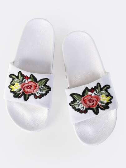 Embroidered Velvet Sandals WHITE