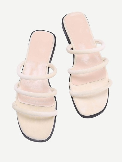 Open Toe Strappy Slide Flat Sandals
