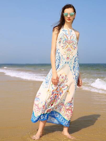 Vintage Print Keyhole Front Beach Dress