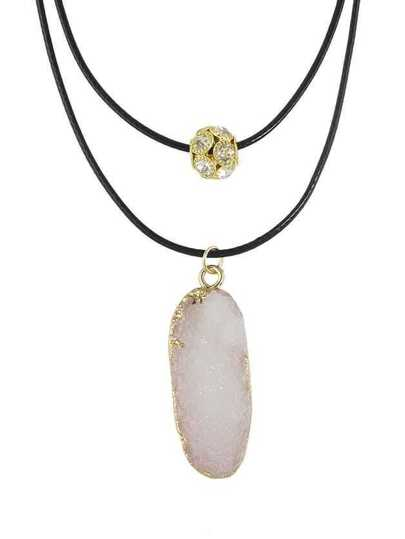White Color Double Layers Resin Stone Pendant Necklaces