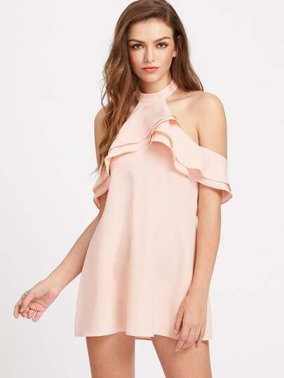 Layered Frill Trim Open Back Halter Dress