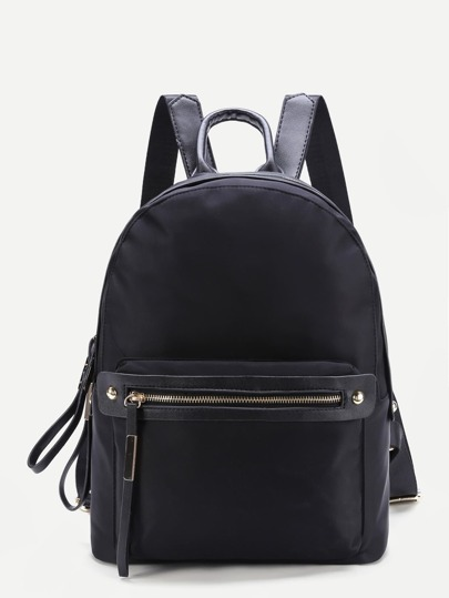 Metal Detail Front Zipper Backpack