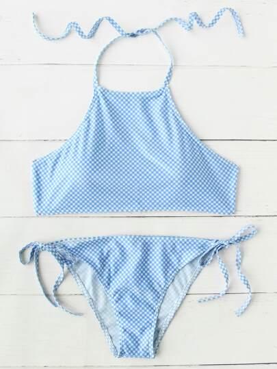 Gingham Print Side Tie Bikini Set