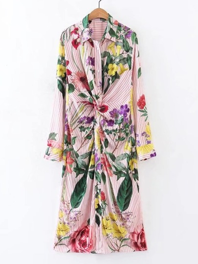 Knot Detail Flower Print Shirt Dress