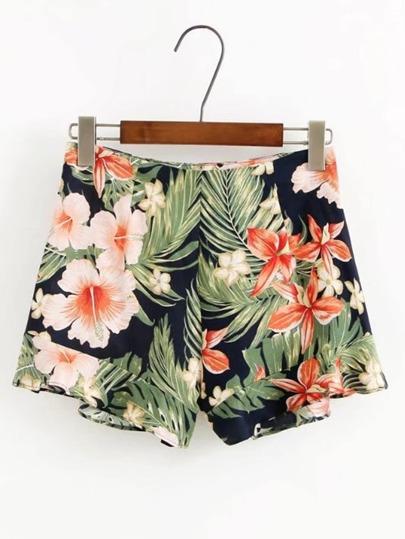 Shorts imprimé des fleurs avec le zip